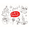 Christmas set with festive objects vector image