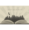 Dark forest in open book vector image