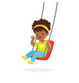 cute little girl playing swing kid have a fun on vector image vector image