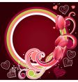 frame with hearts and tulips vector image vector image