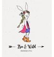Bohemian fashion girl  bunny rabbit boho style vector image