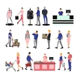 People silhouettes in shopping mall Icons vector image