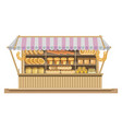 big counter with tent full of fresh delicious vector image