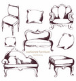 cushioned furniture set hand drawing vector image