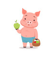 cute pig holding basket with apples funny cartoon vector image