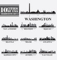 silhouettes cities of usa set 2 in grayscale vector image