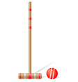 croquet mallet and ball vector image vector image