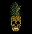 Embroidery skull pineapple t-skirt print fashion vector image