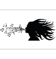 Sing woman silhouette vector image