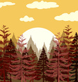 Pine forest at sunset vector image vector image