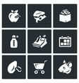 Set of Overdue Product Icons Wormy Apple vector image