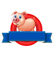 An empty label with a pig vector image