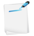 An empty paper with a blue marker vector image