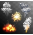 Firework explosions shapes set vector image