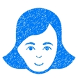 Lady Face Grainy Texture Icon vector image