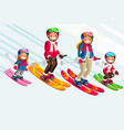 snow skiing people family set vector image