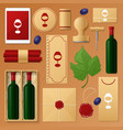 wine shop identity template mockup vector image