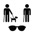 Blind man icons set - with guide dog cane vector image
