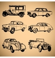 Modern and vintage cars silhouettes collection vector image