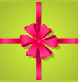 red bow in center of  bright ribbon vector image