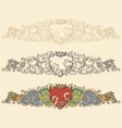 set of renaissance heart borders vector image