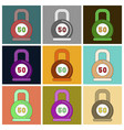 set of icons in flat design weight vector image