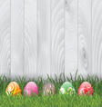 easter eggs on wood background 0103 vector image vector image