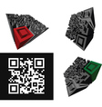 Set Of Abstract 3D QR-code Standing On A White Bac vector image