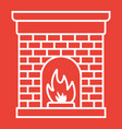 christmas fireplace glyph icon new year vector image