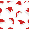 christmas hat seamless pattern isolated on white vector image