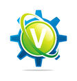 circle globe gear letter v green abstract vector image