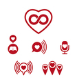Love theme icons set conceptual valentine and vector image