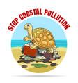 stop coastial pollution ecology emblem vector image