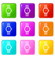 watch icons 9 set vector image