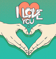 Human hands with heart sign Love concept vector image