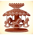Christmas sweets toy horses chocolate carousel vector image