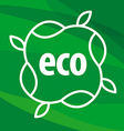 eco logo in the form of plants on green background vector image vector image