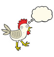 funny cartoon chicken with thought bubble vector image