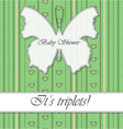 Striped-background-baby-shower-butterfly-triplets vector image