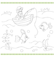Coloring book with fisherman vector image
