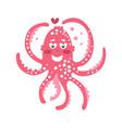 cute cartoon pink enamored octopus character vector image
