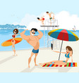 people rest on the beach vector image