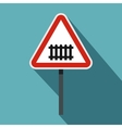 Warning road sign icon flat style vector image