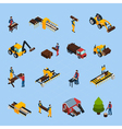 Sawmill Isometric Icons Set vector image