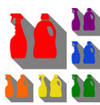 household chemical bottles sign set of red vector image