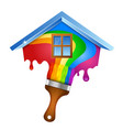 house and brush with paint vector image vector image