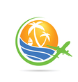 palm with sea with airplane icon color vector image