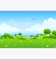 green landscape with aircraft vector image