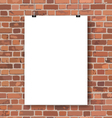 Blank poster on red brick wall vector image vector image
