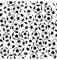 Black and white soccer balls seamless pattern vector image